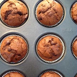 Dubbel Chocolade Bananen Muffins