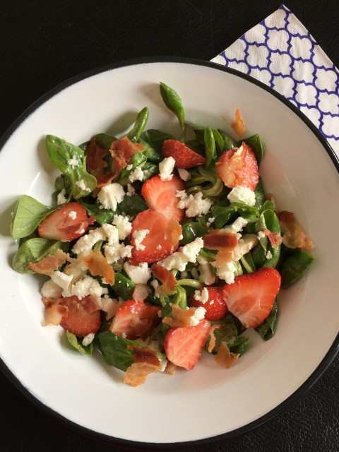 Aardbeien, Feta, Bacon salade