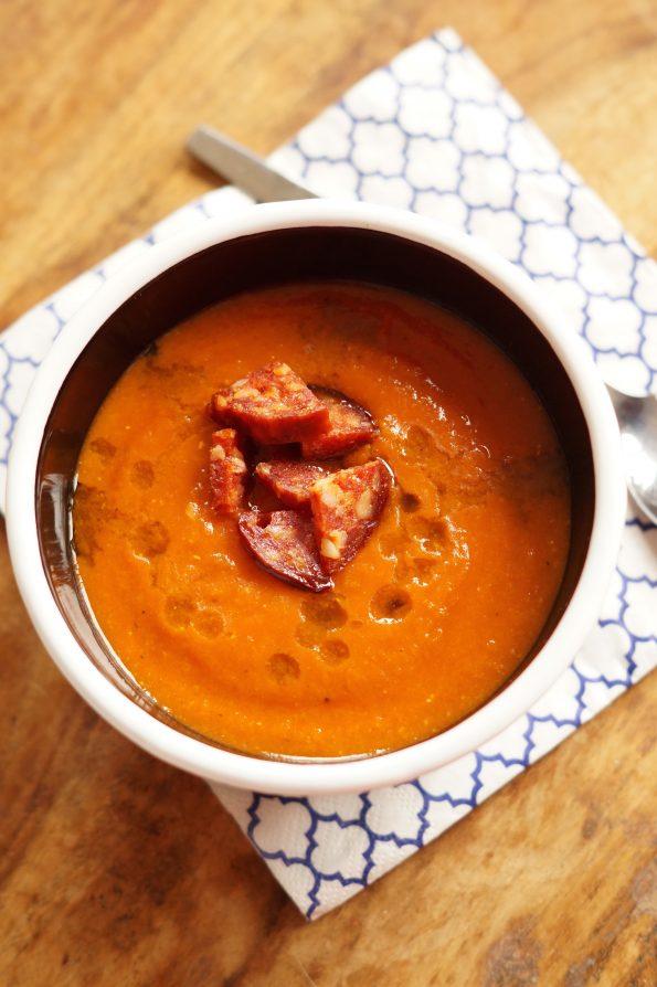 Rode Linzensoep met Chorizo