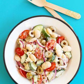 Griekse Salade met Zacht Zure Salade Boontjes