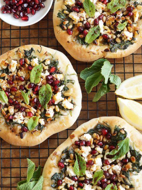 Platbrood met Feta en Spinazie